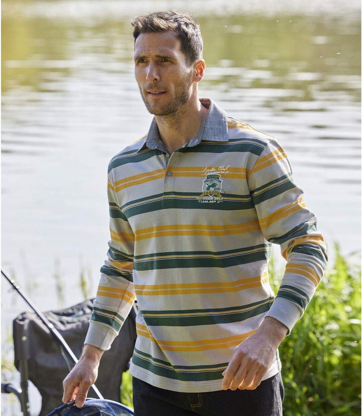 Men's Striped Long-Sleeved Polo Shirt - Grey Green Yellow Atlas For Men