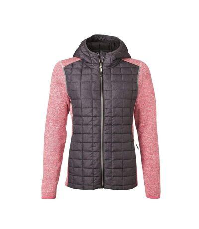 Veste tricot hybride matelassée - femme - JN771 - gris foncé et rose