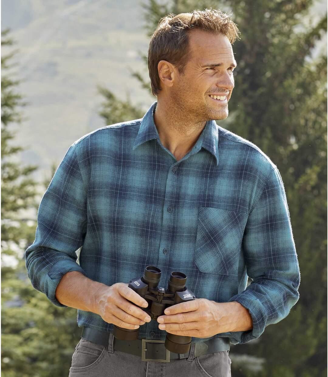 Men's Blue Winter Checked Flannel Shirt