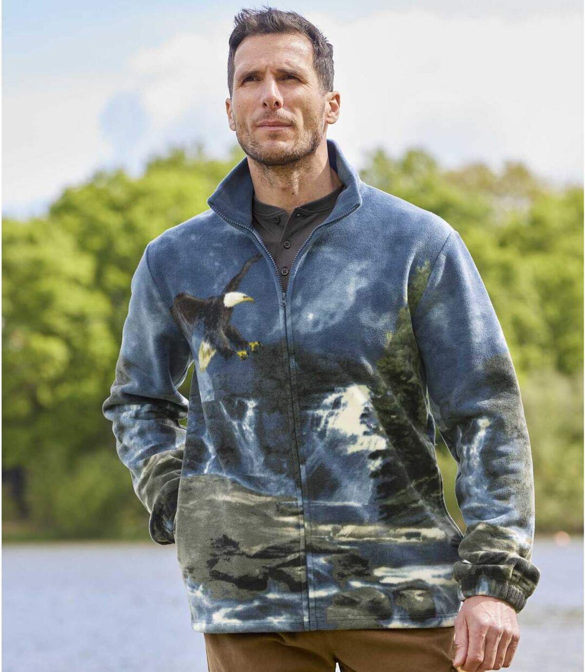 Fleecová bunda spotiskem orla bělohlavého Atlas For Men
