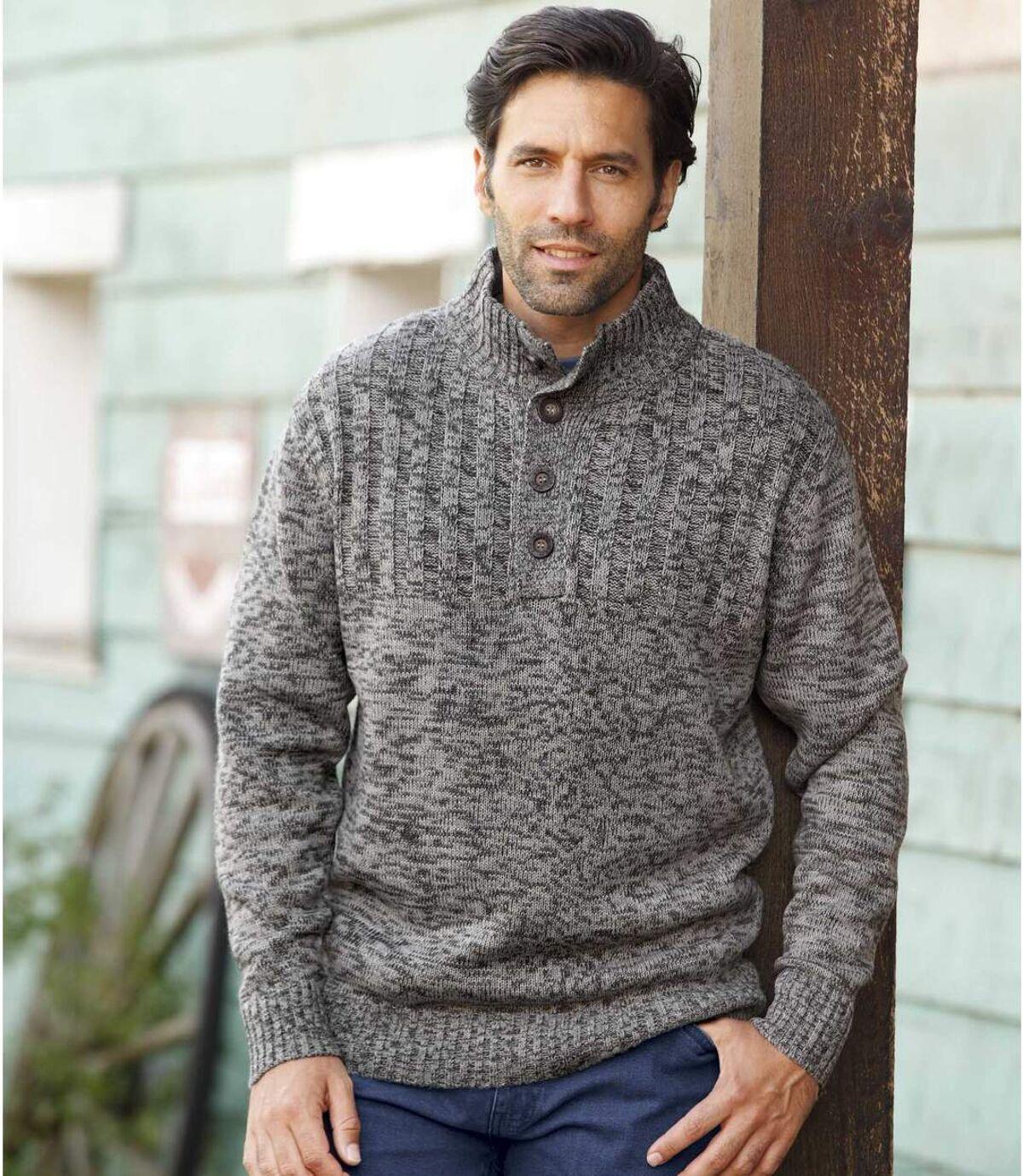 Pletený svetr slímcem na knoflíky Atlas For Men