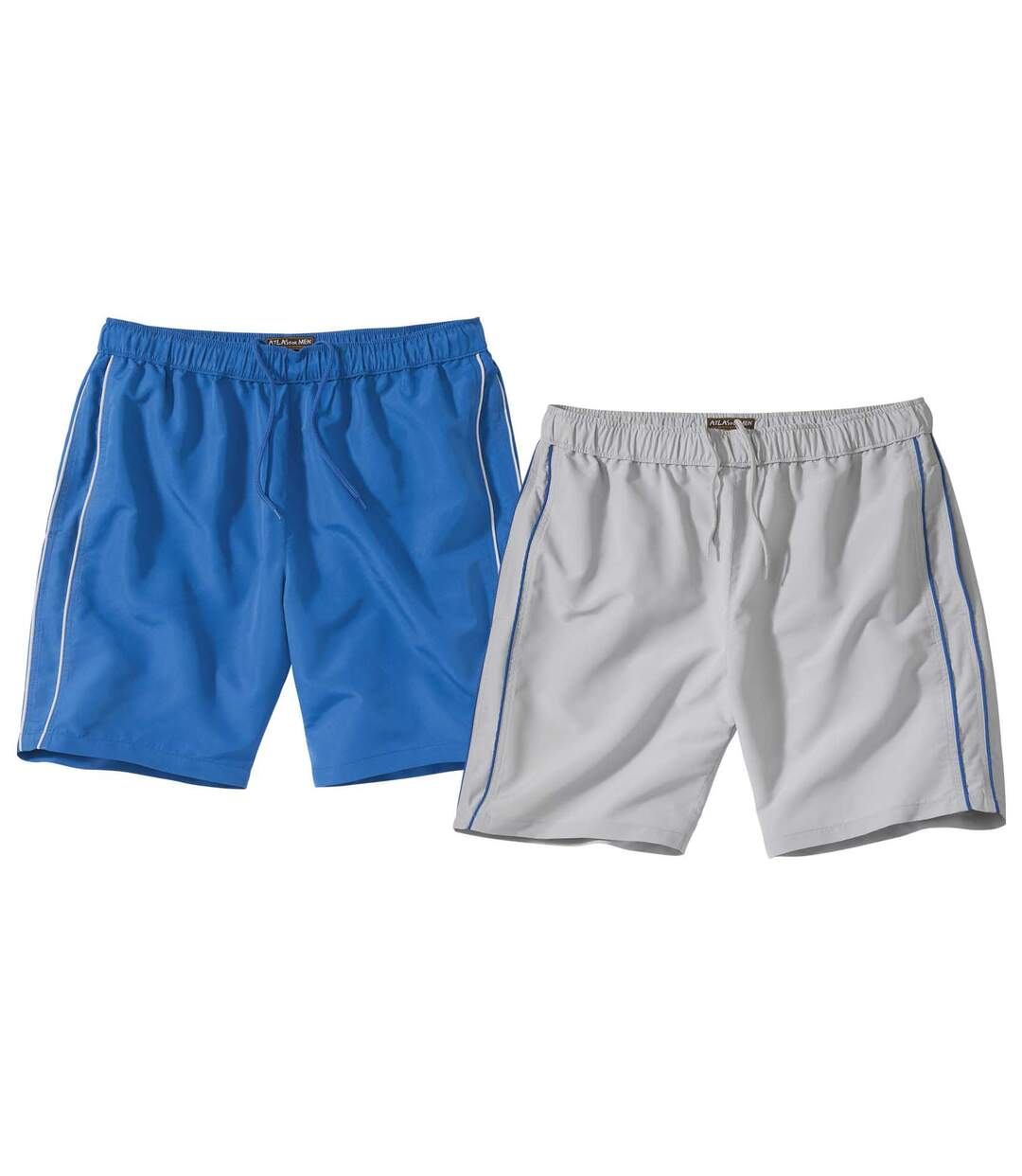 Pack of 2 Men's Microfibre Beach Shorts - Blue Grey