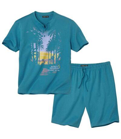 Men's Blue Pyjama Short Set - Sunset Print