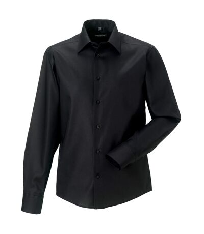 Russell Collection Mens Long Sleeve Tailored Ultimate Non-Iron Shirt (Black) - UTBC1038