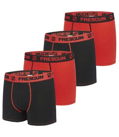 Lot de 4 boxers homme coton Rouge