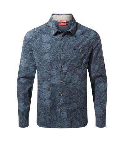 Craghoppers Mens NosiLife Lester Long Sleeved Shirt (Steel Blue Print) - UTCG1309