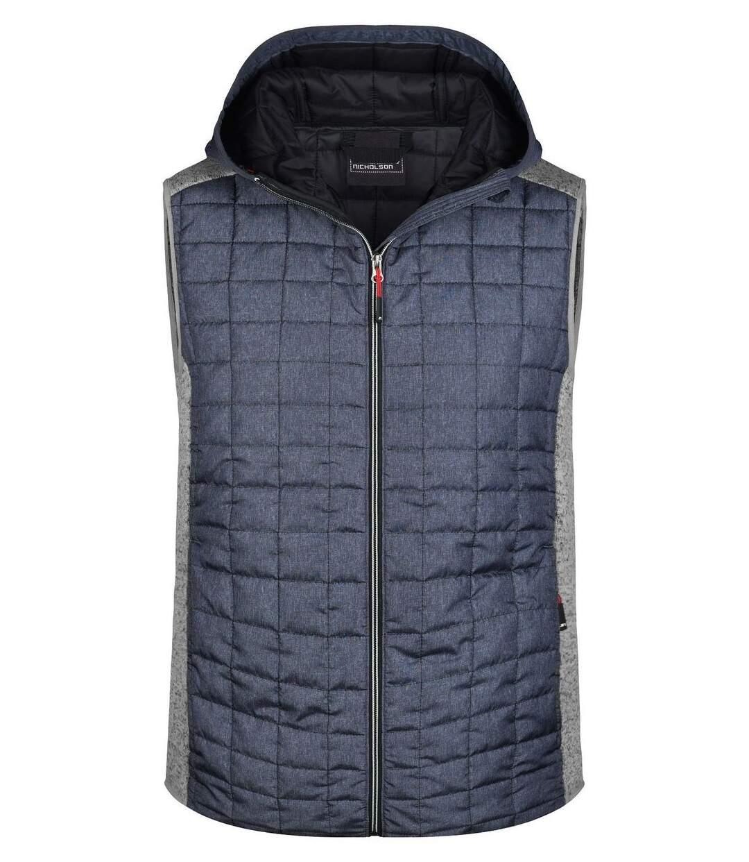 Veste tricot matelassée sans manches - homme - JN768 - gris foncé et gris clair
