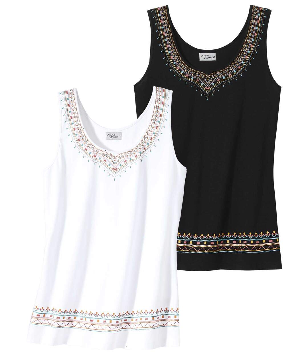 Pack of 2 Women's Vest Tops - Black White