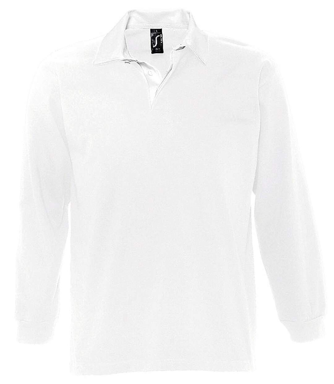 Polo rugby manches longues HOMME - 11313 - blanc