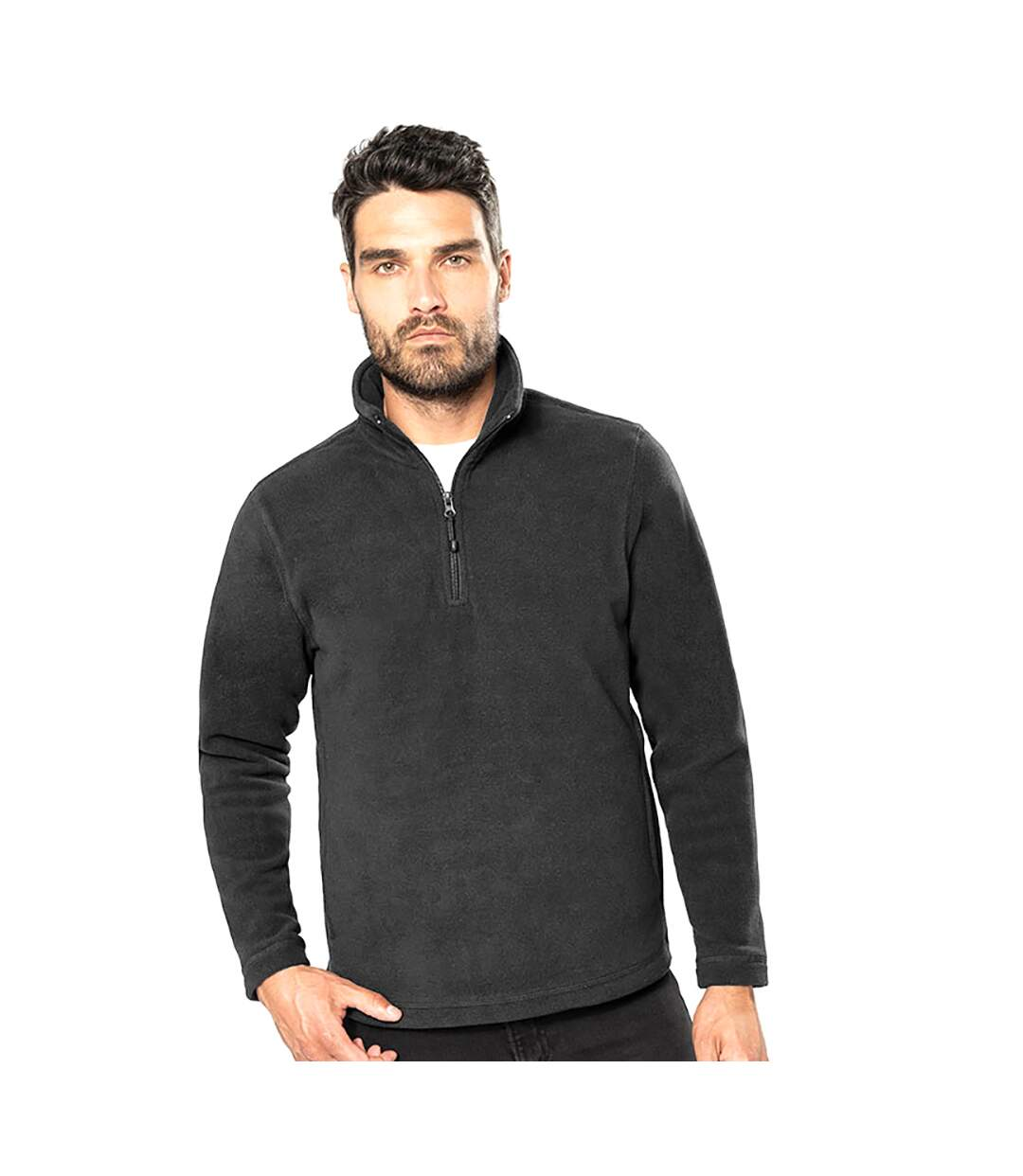 Kariban Mens Enzo 1/4 Zip Fleece Top (Dark Grey) - UTRW738