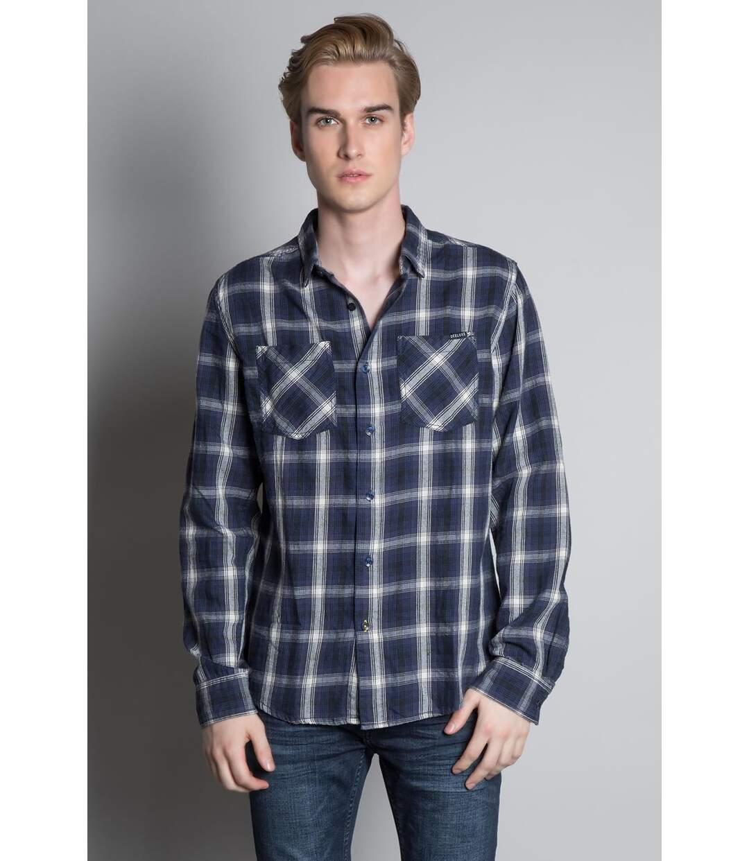 Chemise à carreaux en coton TOPOLA Navy