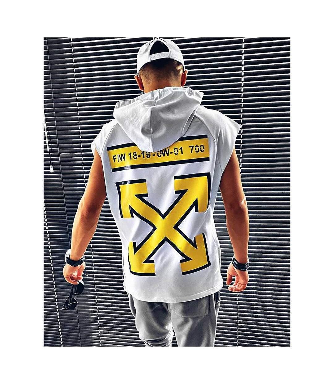 Sweat blanc sans manches à capuche et imprimé jaune pour homme