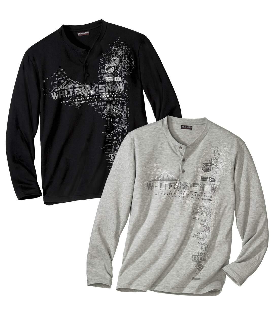 Zestaw 2 t-shirtów z dekoltem zapinanym na guziki