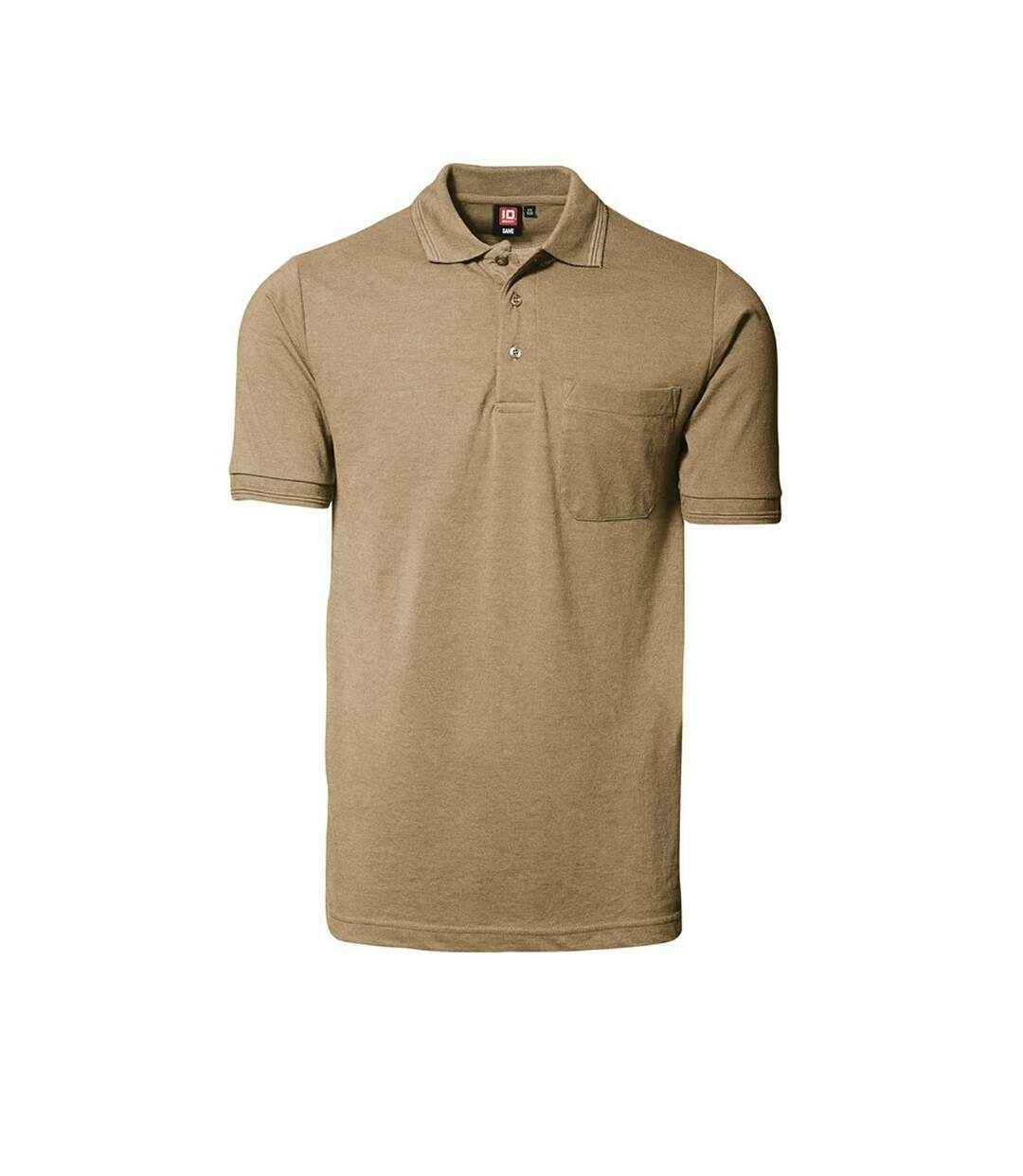 ID Mens Classic Short Sleeve Pique Regular Fitting Polo Shirt With Pocket (Sand) - UTID182