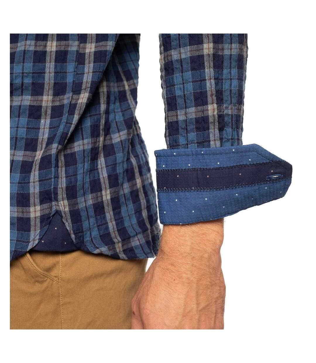 Chemise manches longues gaufrée à carreaux