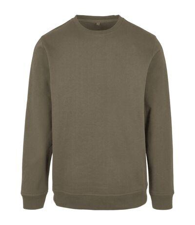 Build Your Brand Mens Basic Crew Neck Sweatshirt (Olive) - UTRW8035