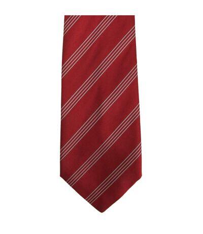 Premier Tie - Mens Four Stripe Work Tie (Pack of 2) (Red/Silver) (One Size) - UTRW6945