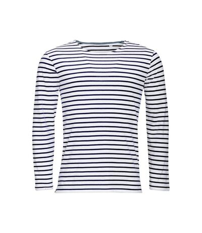SOLS Mens Marine Long Sleeve Stripe T-Shirt (White/Navy) - UTPC2579