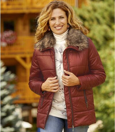 Women's Terracotta Padded Jacket with Faux Fur Collar