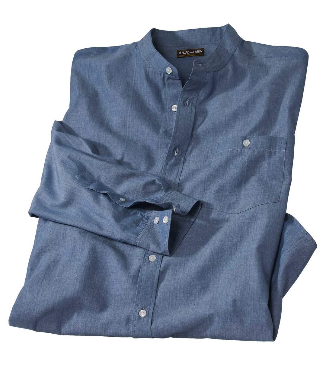 Koszula ze stójką z tkaniny chambray