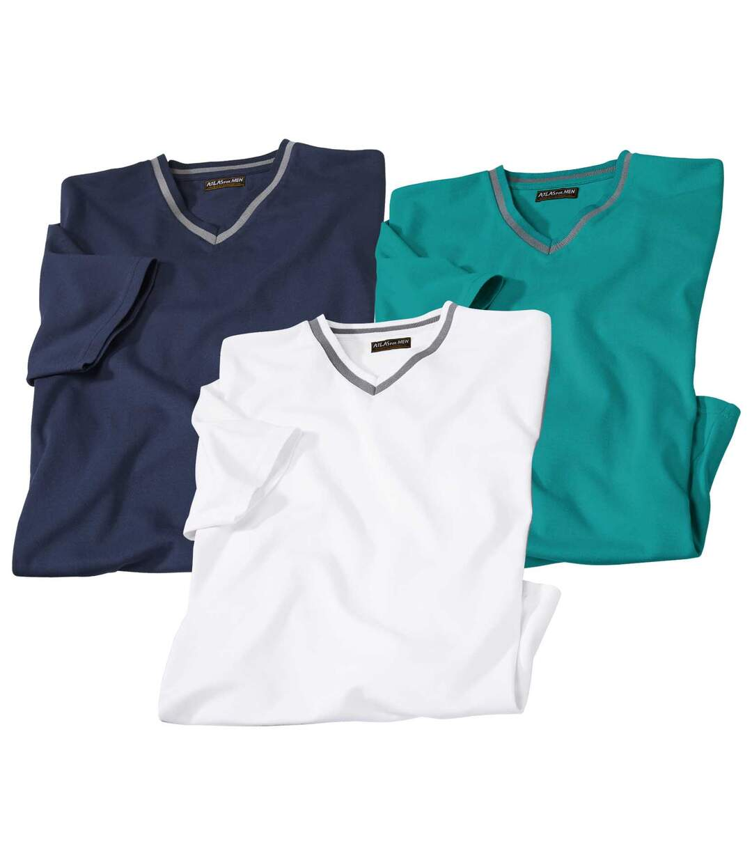 Pack of 3 Men's V-Neck Sea Side T-Shirts - White Navy Turquoise
