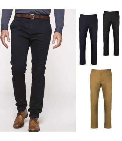 Lot 3 pantalons toile chino - homme K740 - bleu marine noir et beige camel