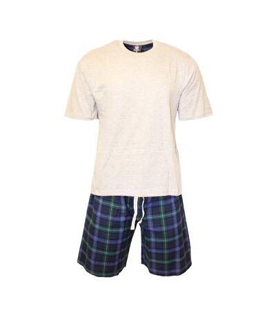 Cargo Bay Ensemble pyjama T-Shirt et short à carreaux pour hommes (Gris / bleu) - UTUT896