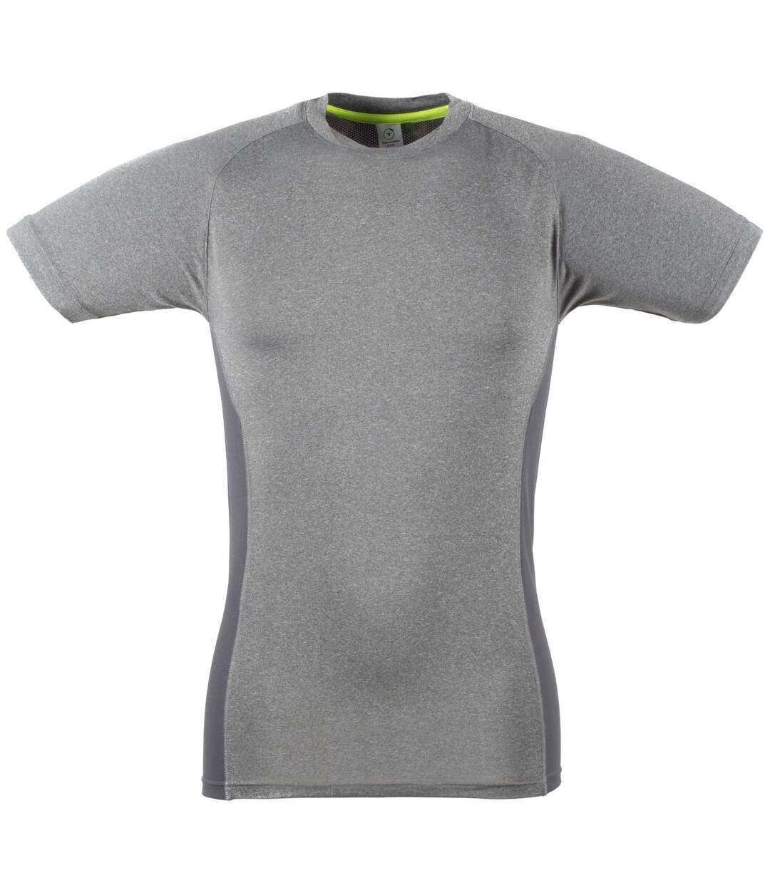 Tombo Teamsport Mens Slim Fit Short Sleeve T-Shirt (Grey Marl / Grey) - UTRW4788