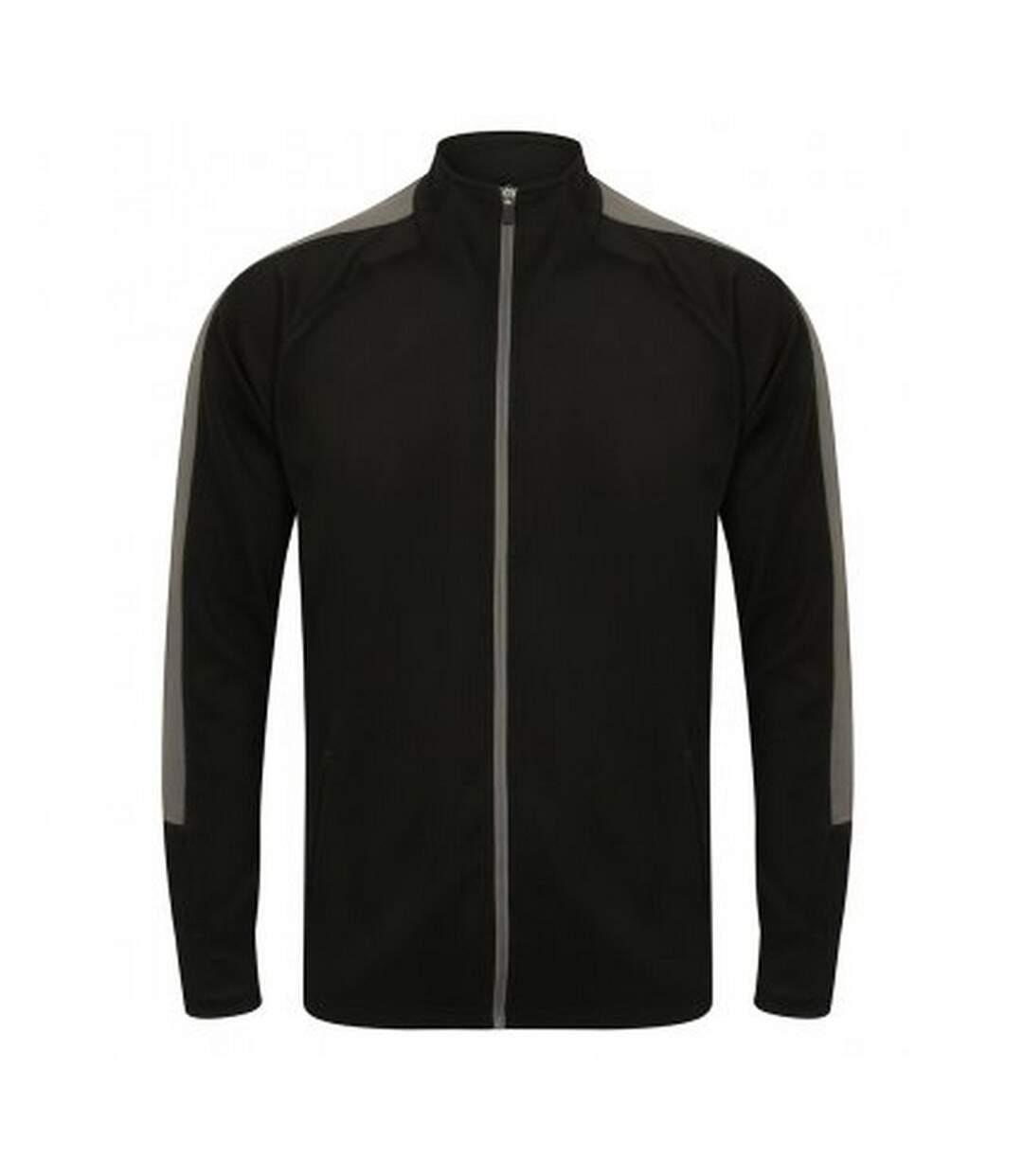 Finden And Hales Mens Knitted Tracksuit Top (Black/Gunmetal Grey) - UTPC3354