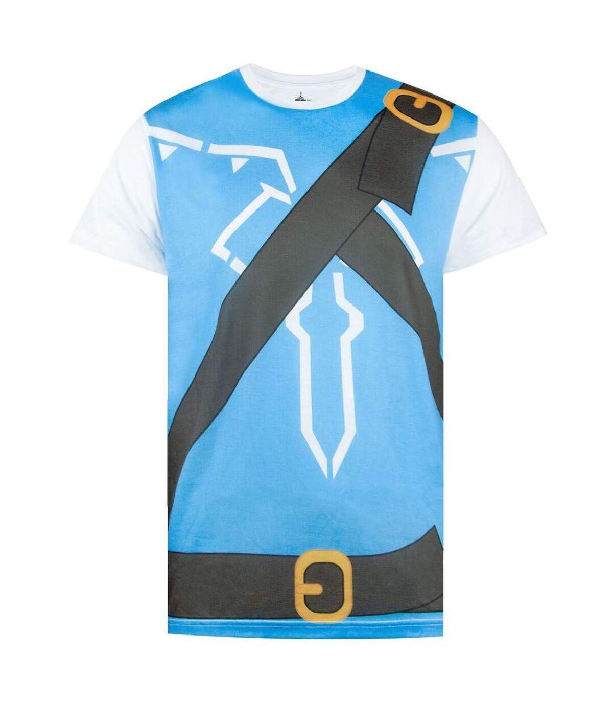 The Legend of Zelda Mens Breath Of The Wild Costume Cosplay T-Shirt (White/Blue) - UTNS5257