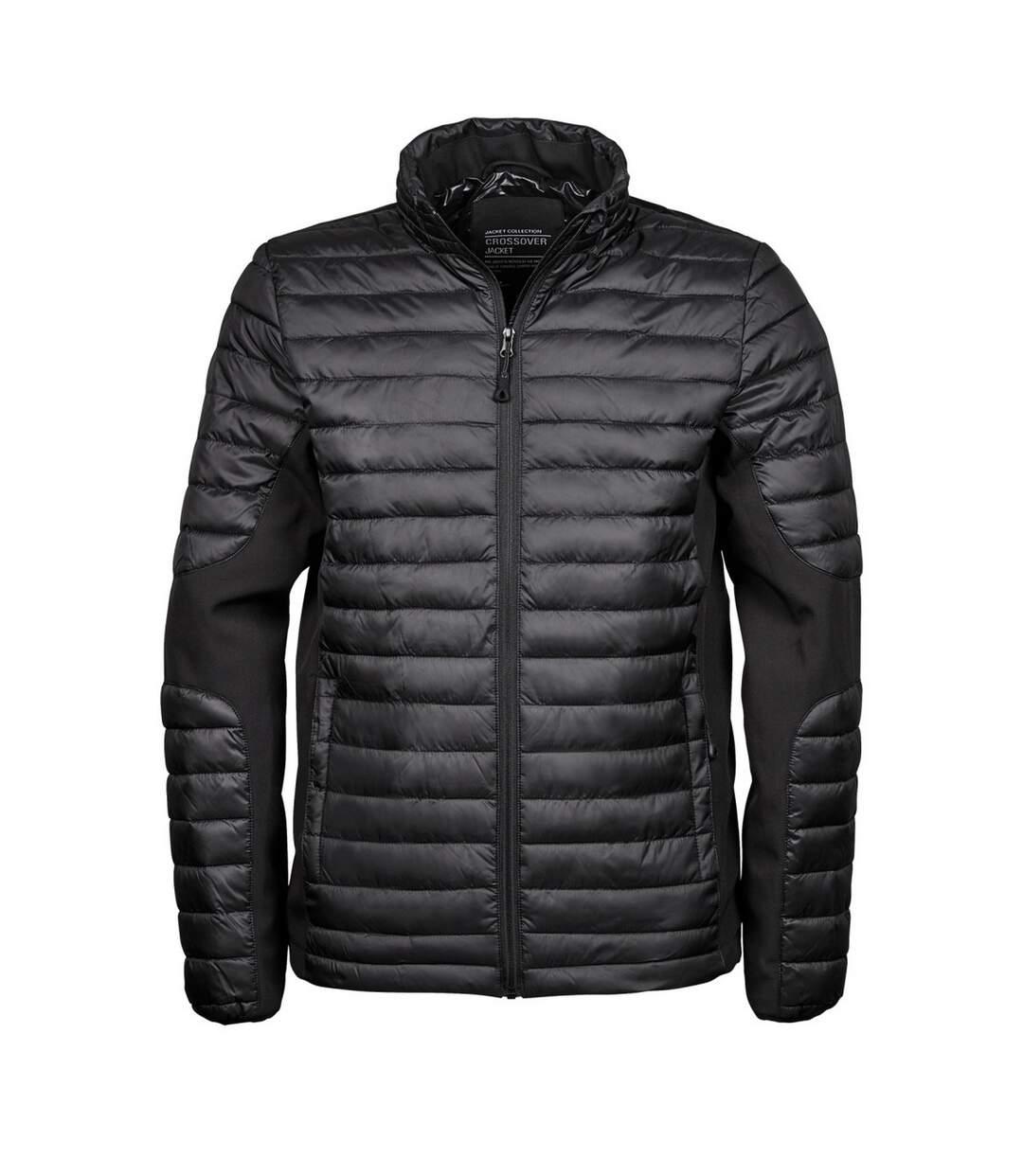 Teejays Mens Padded Full Zip Crossover Jacket (Black/Black) - UTBC3834