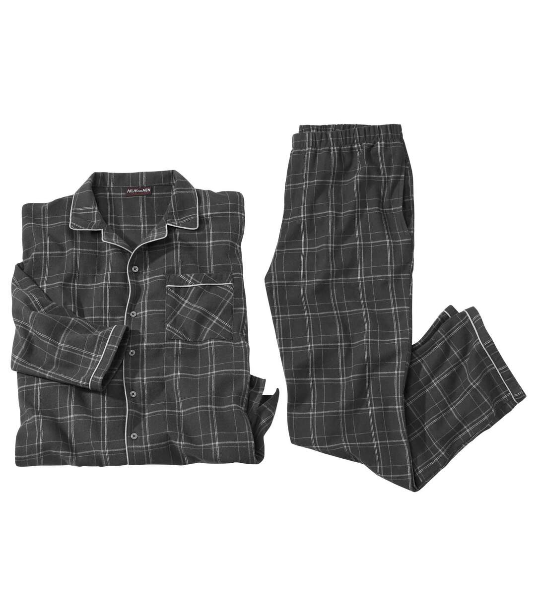 Flanell-Pyjama mit grauen Karos