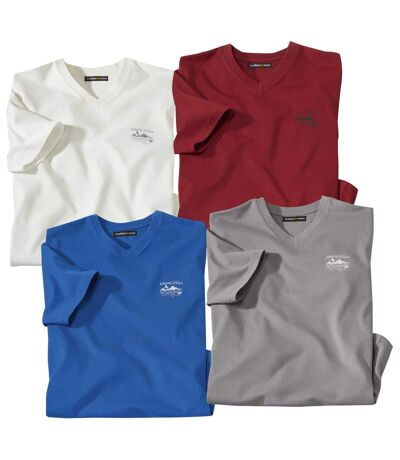 Pack of 4 Men's V-Neck T-Shirts - White Burgundy Blue Grey