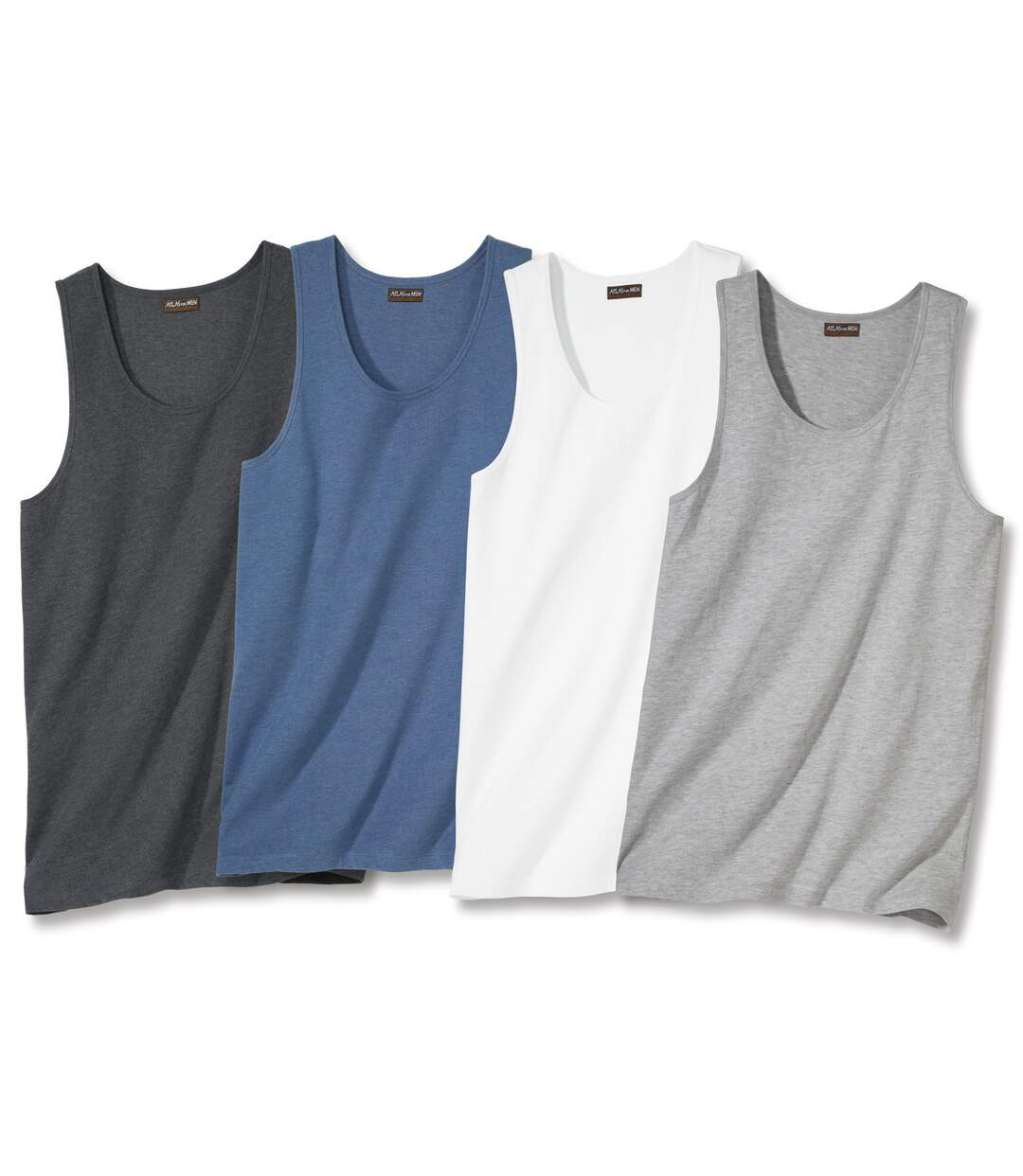 Pack of 4 Men's Classic Vests - Blue White Grey