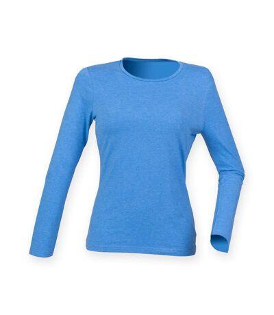 Skinni Fit Womens/Ladies Feel Good Stretch Long Sleeve T-Shirt (Heather Blue) - UTRW4726