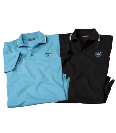 Pack of 2 Men's Short Sleeve Polo Shirts - Black Turquoise
