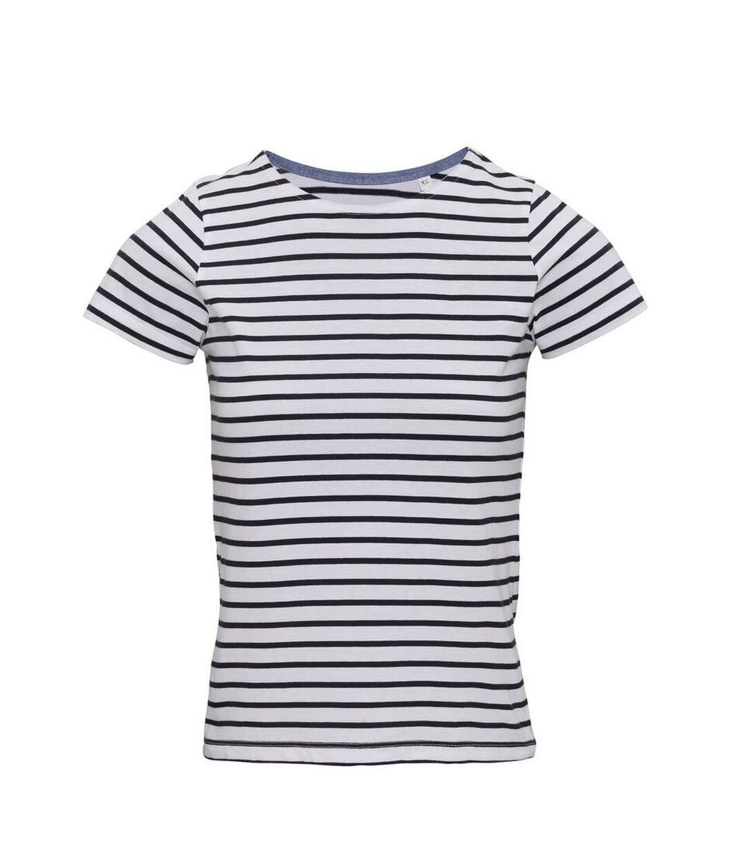 Asquith & Fox - Marinière Manches Courtes Coastal - Femme (Blanc / bleu marine) - UTRW6030