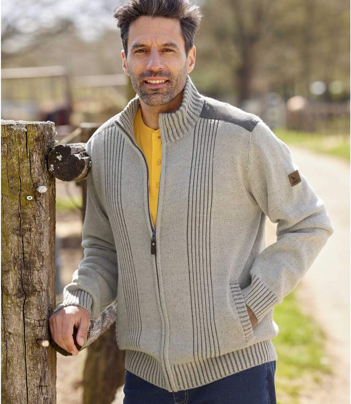Men's Full-Zip Knitted Jacket - Mottled Grey Atlas For Men