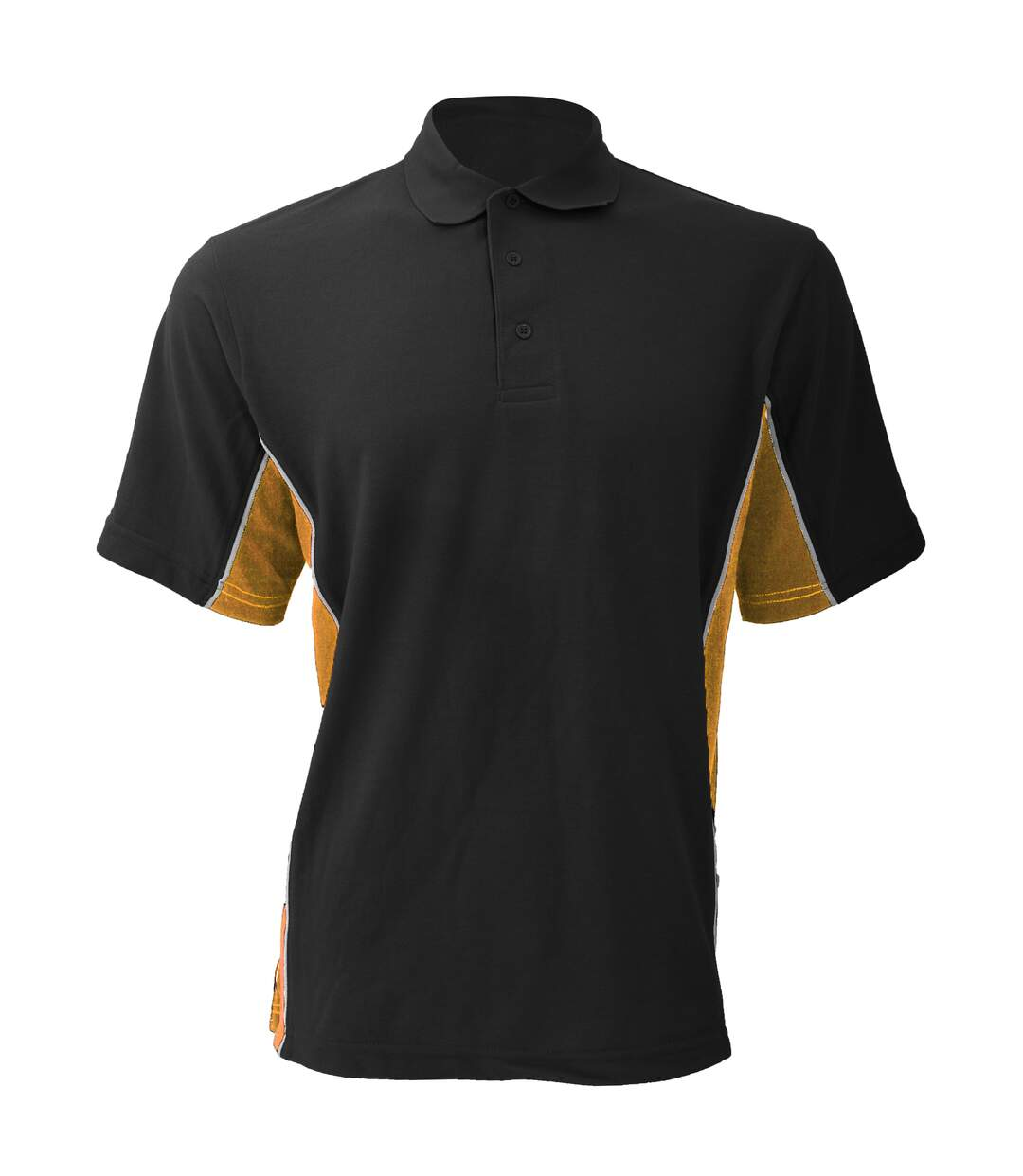 Gamegear® Mens Track Pique Short Sleeve Polo Shirt Top (Black/Gold/White) - UTBC412