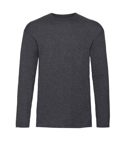 Fruit Of The Loom Mens Valueweight Crew Neck Long Sleeve T-Shirt (Light Graphite) - UTBC331