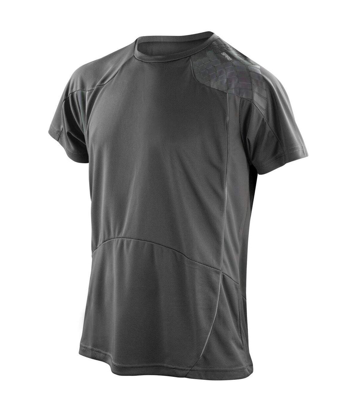Spiro Mens Performance Sports Lightweight Athletic Training T-Shirt (Black/Red) - UTRW1468