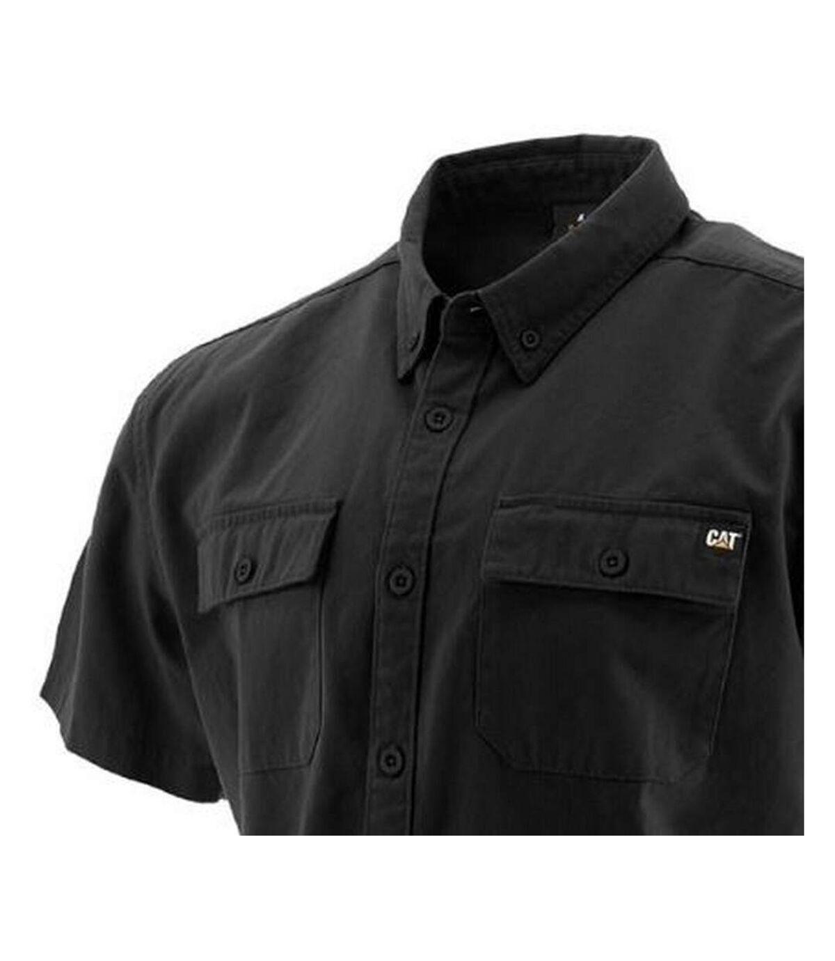 Caterpillar Mens Button Up Short Sleeve Work Shirt (Black) - UTFS6669