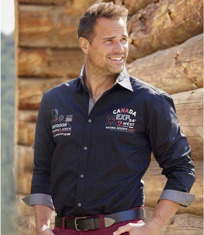 Men's Black Poplin Aviator Shirt - Long Sleeves