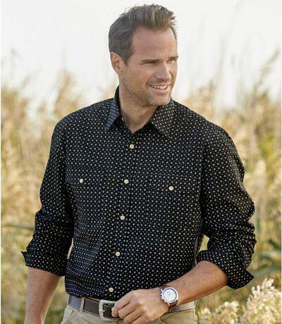 Men's Printed Black Poplin Shirt - Long Sleeves