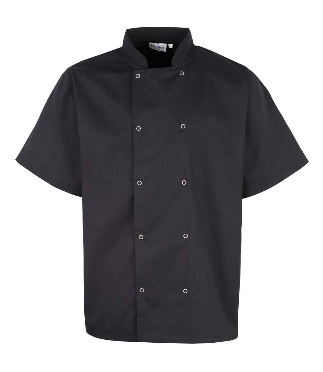 Premier Unisex Studded Front Short Sleeve Chefs Jacket (Pack of 2) (Black) - UTRW6824