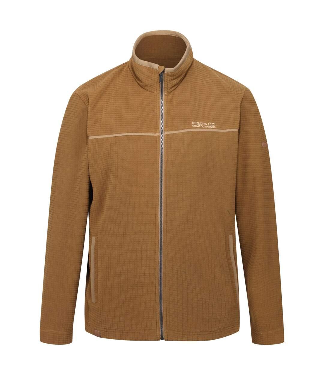 Regatta Mens Earvin Full Zip Broken Stripe Fleece (Dark Camel) - UTRG4596