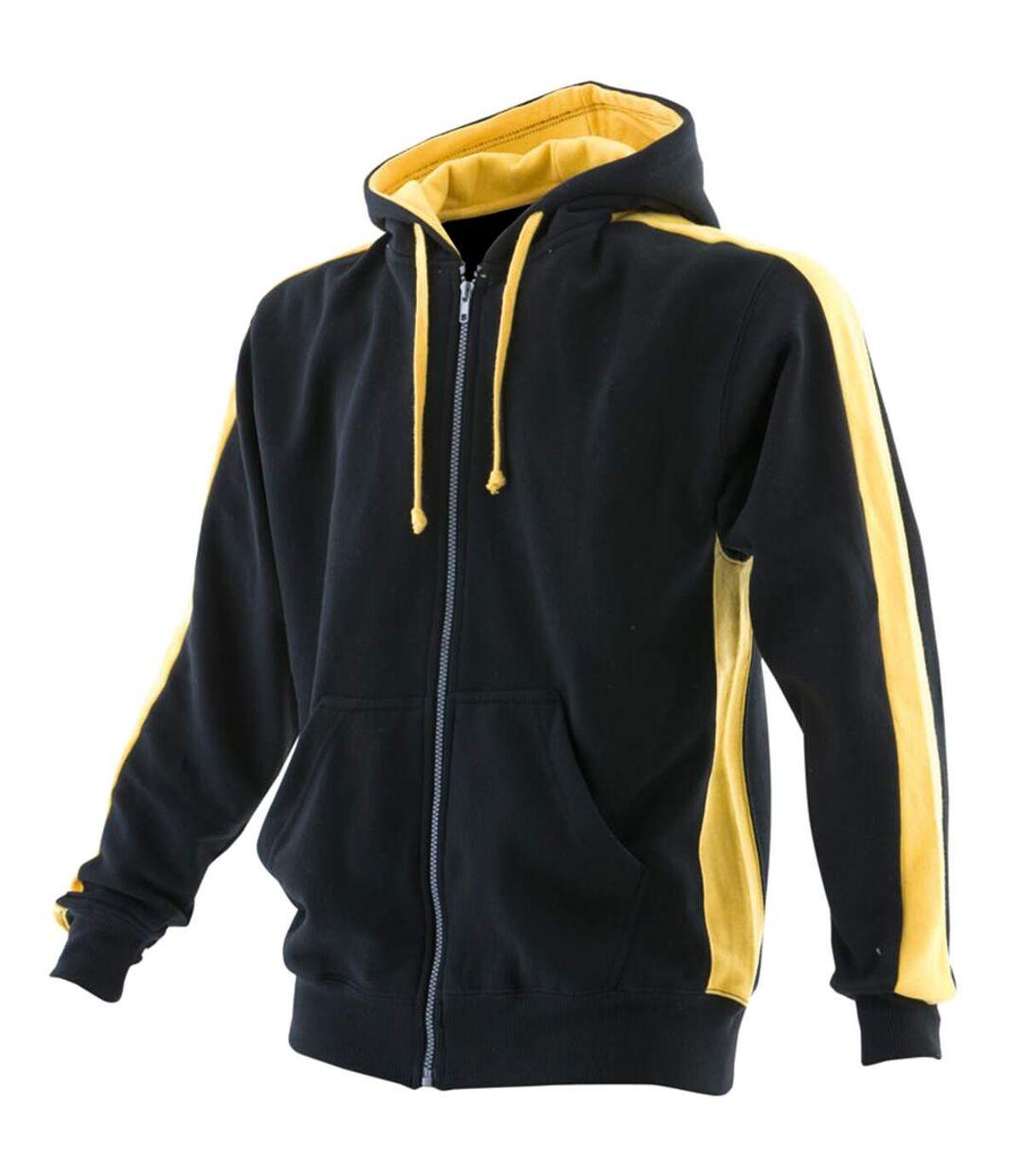 Finden & Hales Mens Full Zip Hooded Sweatshirt / Hoodie (Black/Red) - UTRW421