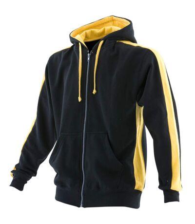 Finden & Hales Mens Full Zip Hooded Sweatshirt / Hoodie (Black/Yellow) - UTRW421