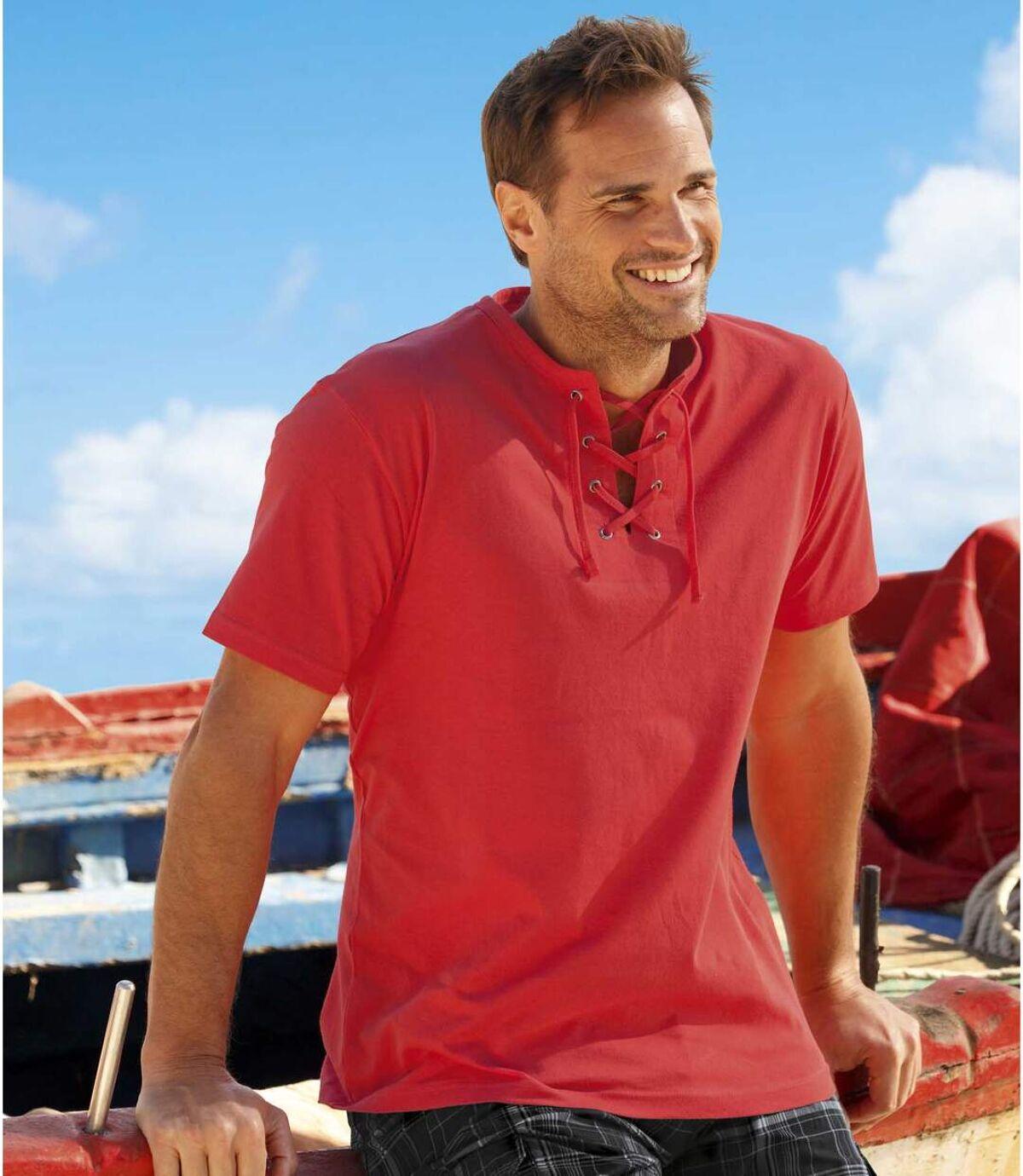 2er-Pack T-Shirts Urlaubszeit mit Schnürung Atlas For Men