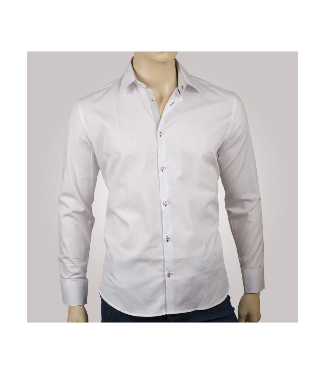 Chemise homme blanche trio gris clair & anthracite - Chemise CINTREE